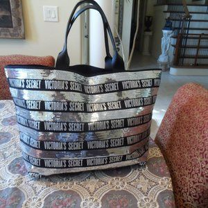 New Victoria's Secret Black Cotton City Woman Tote